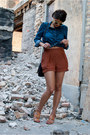 Blue-gap-shirt-brown-urban-outfitters-shorts