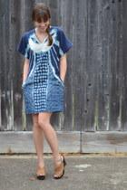 blue Anthropologie dress - brown Michael Kors wedges