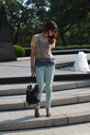 light blue ombre Zara pants - black Mims Maine bag - black ray-ban sunglasses