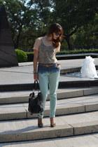 light blue ombre Zara pants - black Mims Maine bag - black ray-ban sunglasses