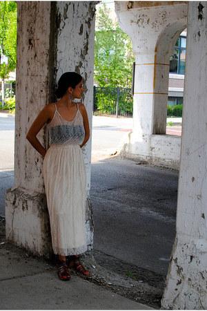 ivory hazel dress - black American Apparel bra - brown Urban Outfitters sandals