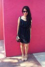 Black-lace-target-dress-beige-payless-shoes-pumps-gold-jewelry-necklace