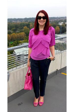 hot pink Jasper Conran for Debenhams bag - navy asos pants