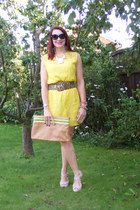 yellow Marks and Spencer dress - tan Zara bag - black Missoni sunglasses