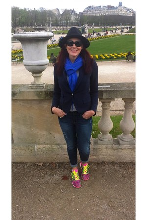 hot pink nike sneakers - blue Gap jeans - black Zara hat - navy Zara blazer