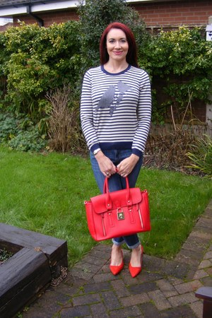white Dickins and Jones sweater - red Marks and Spencer shoes - blue Gap jeans
