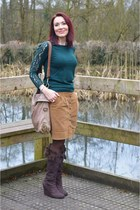 brown Zara skirt - teal Laura Ashley sweater