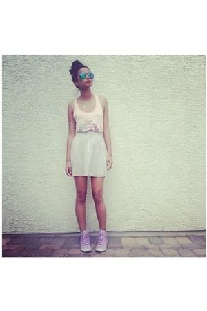 sliver Topshop skirt - blue Charlotte Russe sunglasses - lavender nike sneakers