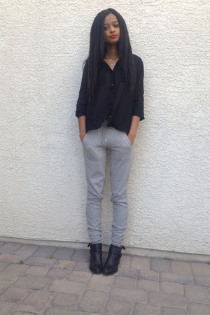 nike pants - Jeffrey Campbell boots - TJ Maxx blouse - Forever21 necklace