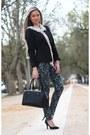 Mango-blazer-accessorize-scarf-formula-pants
