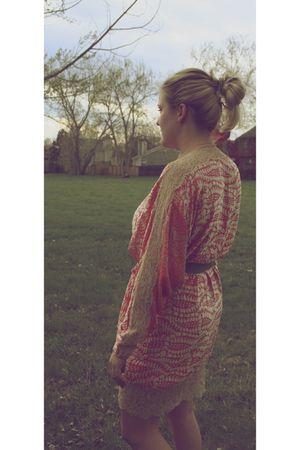 orange vintage cardigan dress - green Elie Tahari belt