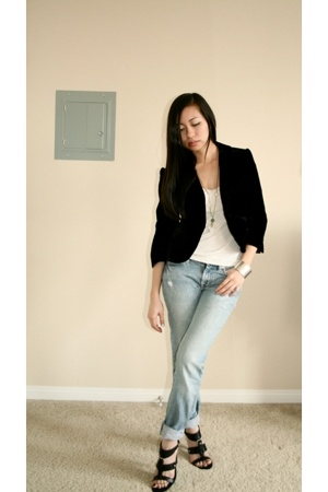anne taylor loft blazer - banana republic shirt - delias jeans - Nine West shoes
