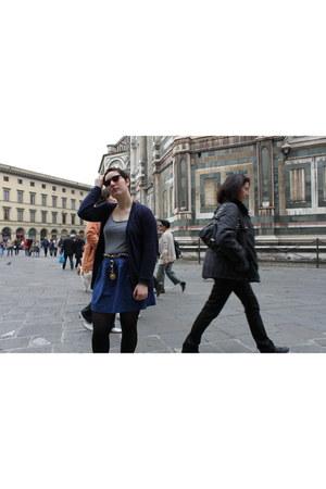 coral H&M sunglasses - navy Zara cardigan - blue Zara skirt - heather gray H&M t
