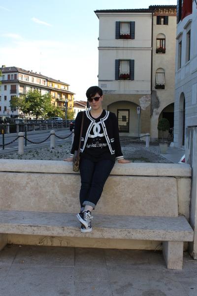 navy meltin pot jeans - navy Zara jacket - camel Gucci bag - salmon H&M sunglass