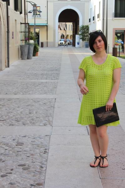 chartreuse stella zwieb dress - black vintage purse