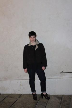 dark brown Prada shoes - dark brown seventy coat - navy Gas jeans - black intimi