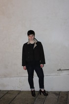dark brown Prada shoes - dark brown seventy coat - navy Gas jeans - black intimi