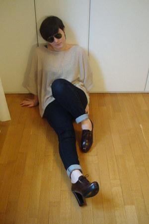 dark brown Prada shoes - navy Cheap Monday jeans - beige H&M sweater - dark gree