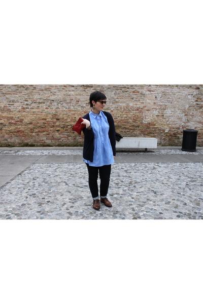 navy Cheap Monday jeans - sky blue aspesi shirt - bubble gum H&M sunglasses - na
