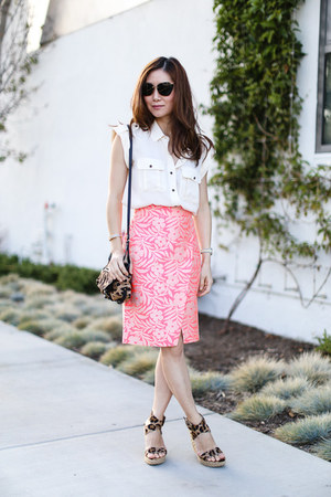 Jerome Dreyfuss bag - stuart weitzman wedges - J Crew skirt