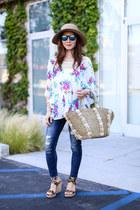 Anthropologie top - Express jeans - stuart weitzman wedges