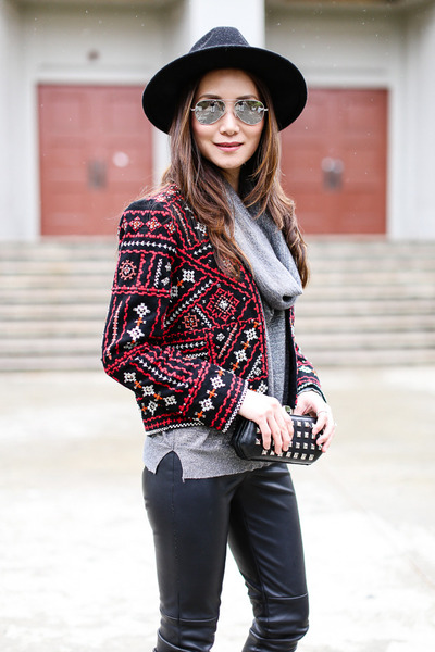 Zara jacket - H&M hat - ann taylor leggings - Rebecca Minkoff bag