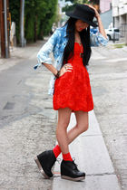 red H&M dress - black wedge booties Jeffrey Campbell shoes