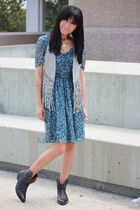 blue Zara dress - silver Billabong vest - black Aldo boots