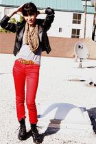 black H&M jacket - brown bloomingdales scarf - gray American Apparel t-shirt - r