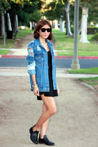 black Senso boots - black Zara dress - blue denim asos jacket