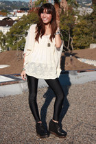 white Millau top - black American Apparel leggings - black Jeffrey Campbell shoe