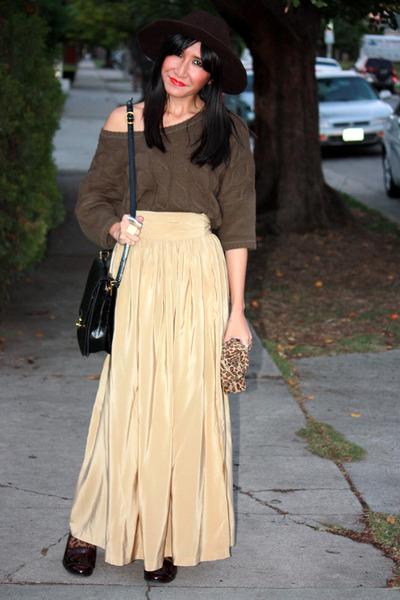tan california select vintage skirt - dark brown moccasins Zara shoes
