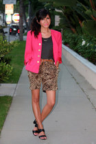 hot pink vintage blazer - dark gray Zara shirt - dark brown leopard print PHAMOU