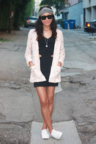 black side cut-outs MinkPink dress - peach lace H&M blazer