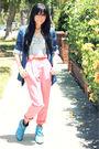 Blue-zara-blazer-blue-silence-noise-top-pink-american-apparel-pants-blue