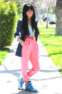 Blue-zara-blazer-blue-silence-noise-top-pink-american-apparel-pants-blue