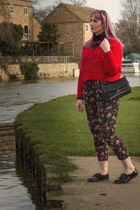 ruby red Topshop jumper - floral pattern Primark pants