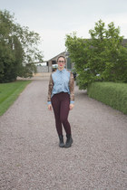 light blue Primark shirt - maroon high wasted River Island leggings