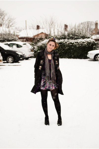 charcoal gray River Island coat - purple H&M skirt