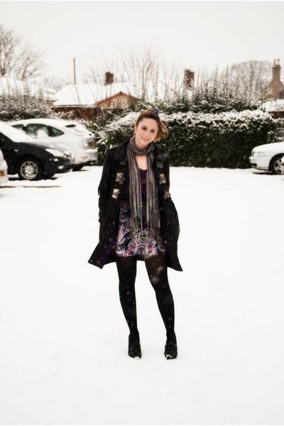 charcoal gray River Island coat - purple H&M skirt