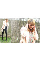 black boots - light pink soft cotton Primark blazer - black highwasted pants