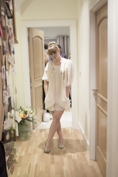 ivory floaty material TFNC dress