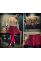 ruby red polka dot Primark dress - off white vintage jumper