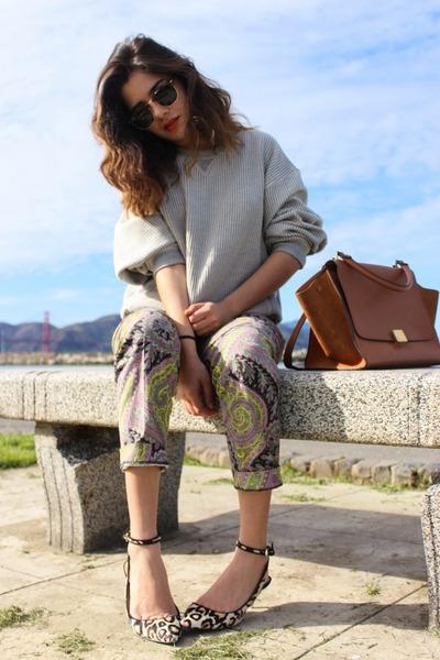 trapeze Celine bag - Zara sweater - Celine sunglasses - leopard Zara heels