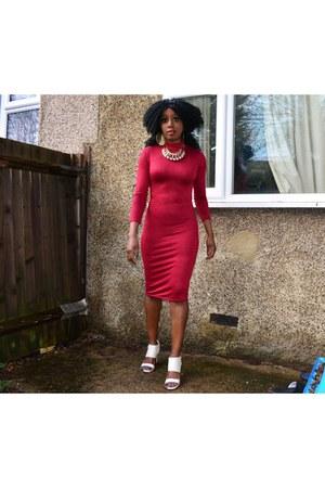 maroon midi Ebay dress - ivory new look bag