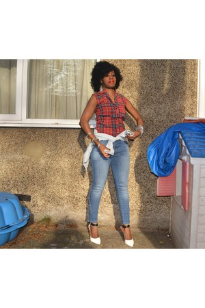 brick red tartan asos shirt - Zara shoes - skinnies F&F jeans
