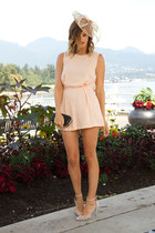 peach Entitled hat - peach Topshop romper - neutral Zara heels