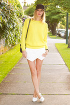 white Zara shorts - black Aritzia hat - yellow Topshop sweater