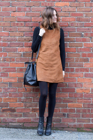 black vince boots - camel Sanctuary dress - black madewell bag