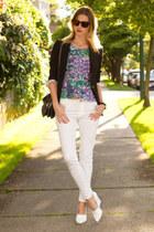 white Zara jeans - black Aritzia blazer - silver botkier bag - white Zara wedges